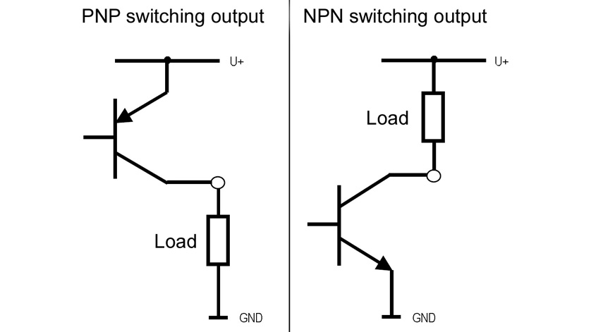 connection diagram of pnp and npn transistor outputs for electronic pressure switches